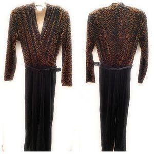 Ronni Nicole Velvet Jumpsuit Leopard Vintage